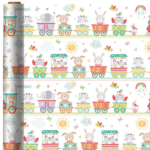 Baby Train Gift Wrap Image #1