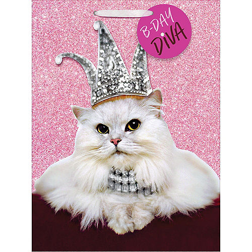 Large Glitter Birthday Diva Cat Gift Bag Image #1