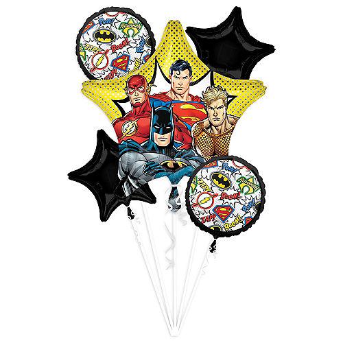 Justice League Comics Balloon Bouquet 5pc Image #1