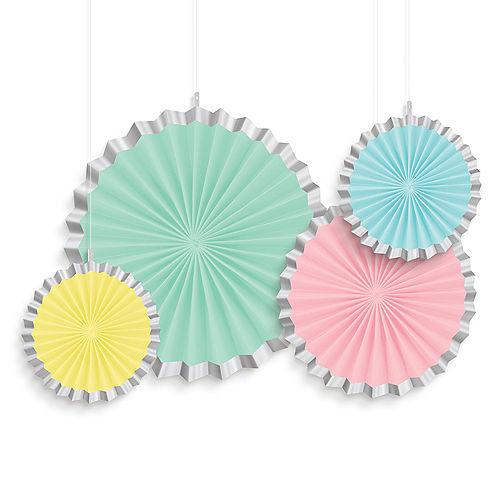 Pretty Pastels Paper Fan Decorations 4ct Image #1