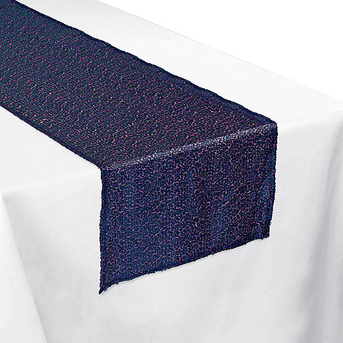 Sparkling Sapphire Sequin Fabric Table Runner Image #1