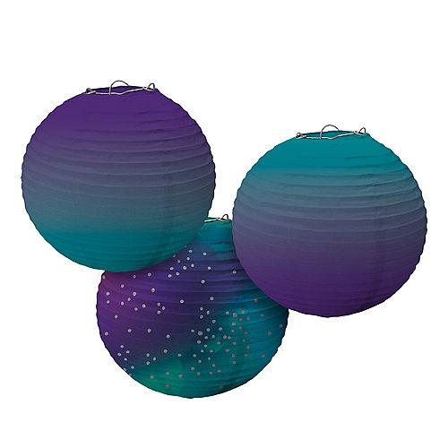 Sparkling Sapphire Ombre Paper Lanterns 3ct Image #1