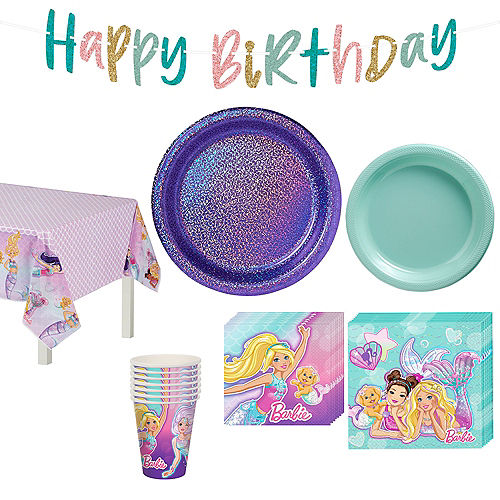 Nav Item for Iridescent Barbie Mermaid Birthday Party Tableware Kit for 8 Guests Image #1