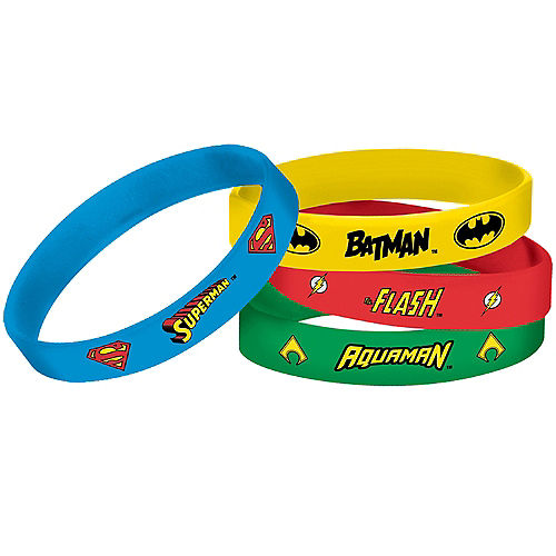 Justice League Heroes Unite Wristbands 4ct Image #1