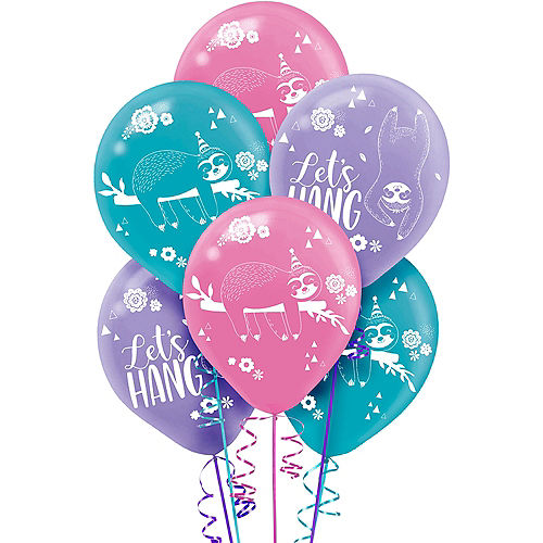 Sloth Party Balloons 6ct Image #1