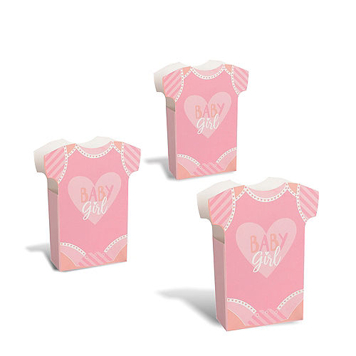 Pink Bodysuit Baby Girl Baby Shower Favor Boxes, 24ct Image #1