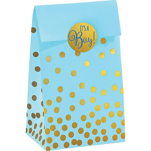 Blue & Metallic Gold Dots It's a Boy Baby Shower Treat Bags, 20ct Image #1