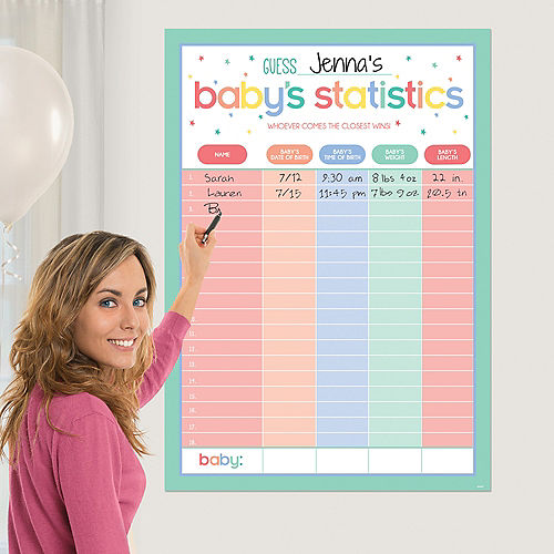 Pastel Stars Guess Baby's Statistics Baby Shower Game Image #1
