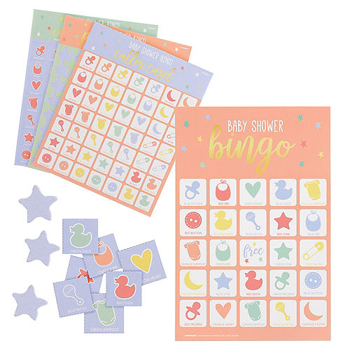 Pastel Stars Bingo Baby Shower Game, 16 Players Image #1