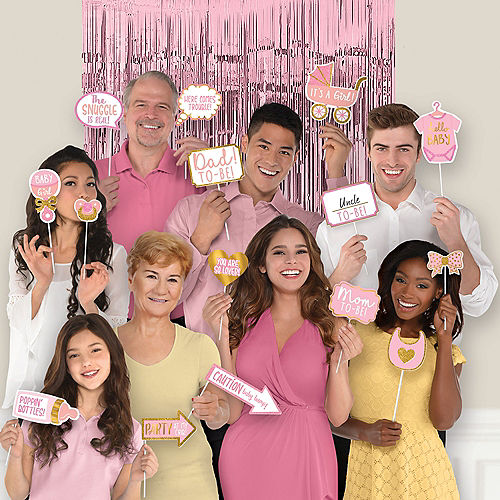 Glitter Pink & Gold Baby Shower Scene Setter with Photo Booth Props Image #1