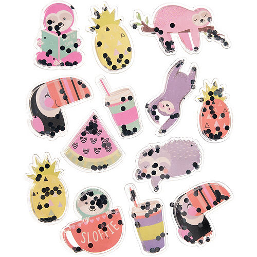 Tropical Tree Sloth Confetti Shake Stickers, 1 Sheet Image #1