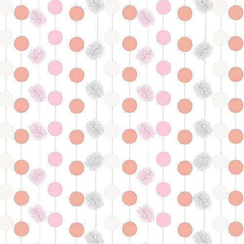 Pink & White Fluffy Garland Backdrop Kit Image #1