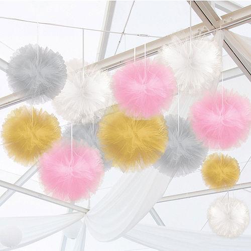Gold, Pink & Silver Tulle Pom-Pom Decorating Kit Image #1