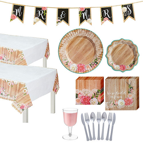 Floral & Lace Rustic Wedding Tableware Kit for 50 guests Image #1