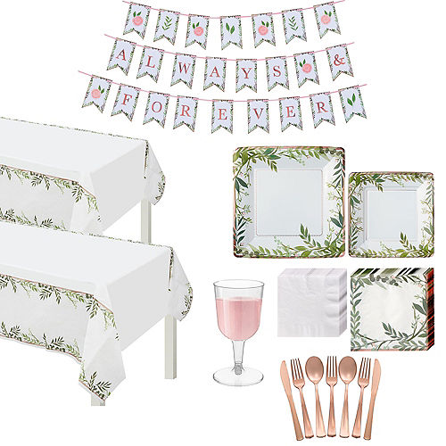 Metallic Floral Greenery Wedding Tableware Kit for 50 Guests Image #1