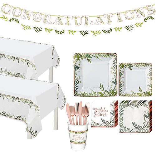 Metallic Floral Greenery Bridal Shower Party Supplies for 50 Guests Image #1