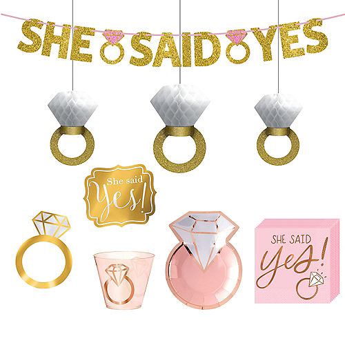 Metallic Blush and Rose Gold Bridal Shower Dessert Party Supplies for 50 Guests Image #1