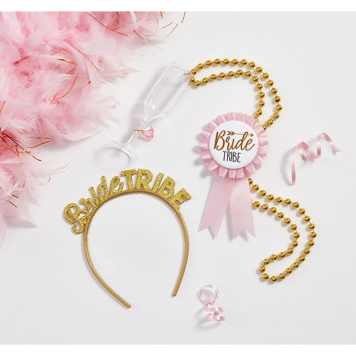 Gold & Pink Bride Tribe Bachelorette Party Accessories for 6 Guests Image #1