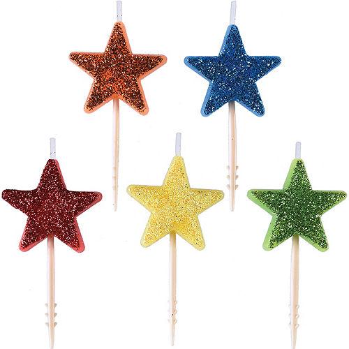 Glitter Rainbow Star Birthday Toothpick Candles 5ct Image #1