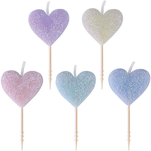 Glitter Pastel Heart Birthday Toothpick Candles 5ct Image #1