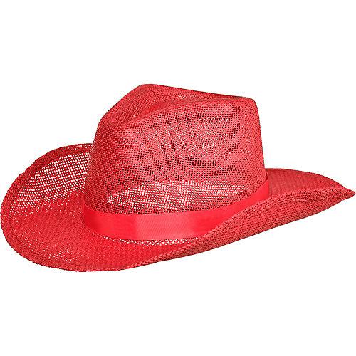 Red Burlap Cowboy Hat Image #1
