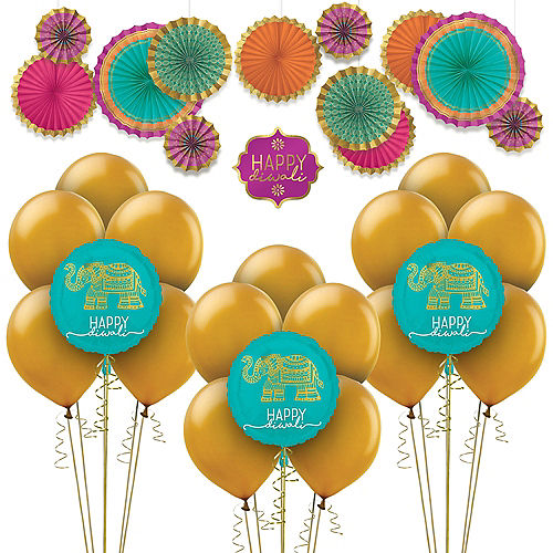 Happy Diwali Balloon & Paper Fan Room Decorating Kit Image #1