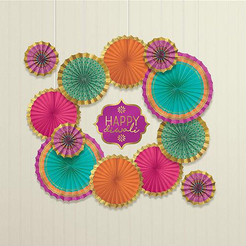 Happy Diwali Balloon & Paper Fan Room Decorating Kit Image #5