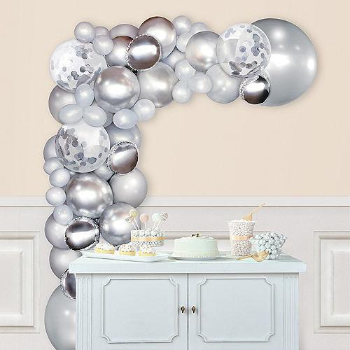 Air-Filled Silver Balloon Garland Kit Image #1