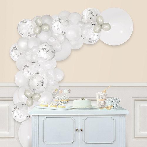 Air-Filled White Balloon Garland Kit Image #1