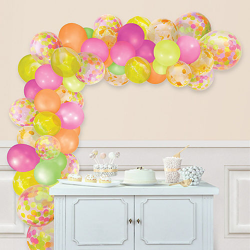 Air-Filled Neon Multicolor Balloon Garland Kit Image #1