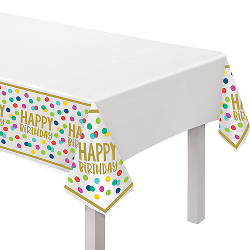 Multicolor Happy Dots Birthday Plastic Table Cover, 54in x 102in Image #1
