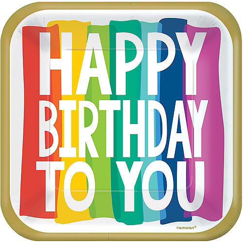 Rainbow Wishes Happy Birthday Square Lunch Plates, 9in, 18ct Image #1