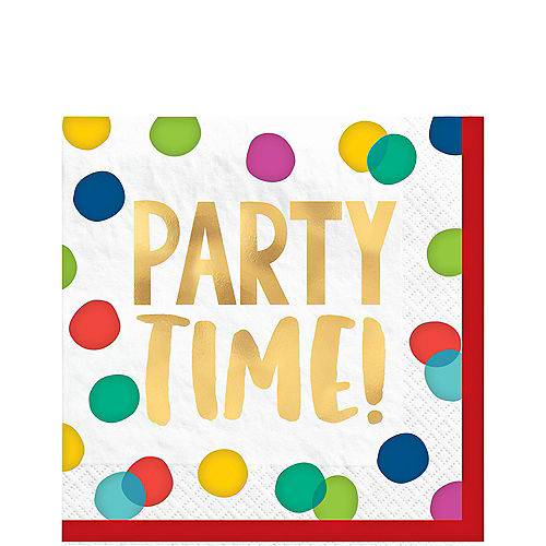 Multicolor & Metallic Gold Happy Dots Party Time Lunch Napkins, 6.5in, 16ct Image #1