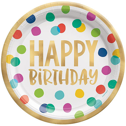 Multicolor & Metallic Gold Happy Dots Birthday Dinner Plates, 10.5in, 8ct Image #1