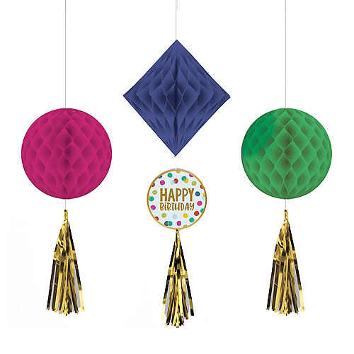 Multicolor & Metallic Gold Happy Dots Birthday Honeycomb Decorations with Tails, 3ct Image #1