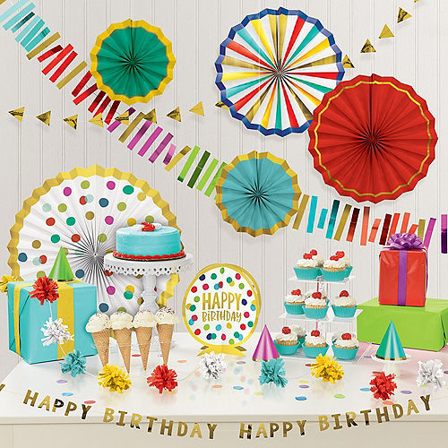 Multicolor & Metallic Gold Happy Dots Birthday Decorating Kit, 18pc Image #1
