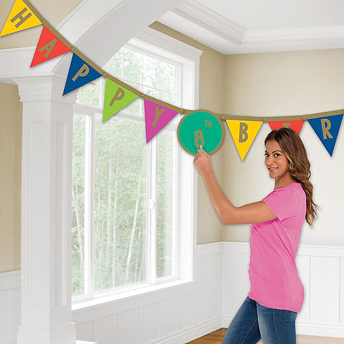 Multicolor & Metallic Gold Happy Dots Personalized Birthday Pennant Banner Image #1