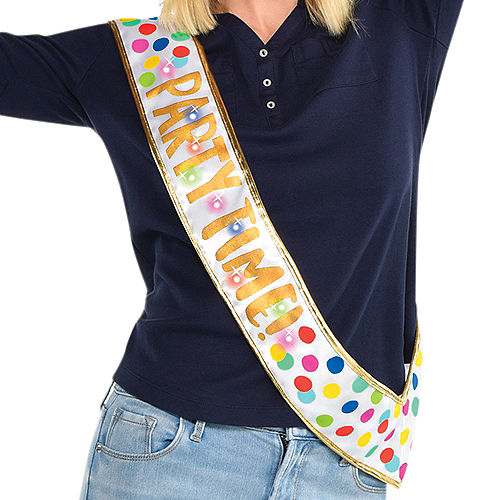 Light-Up Happy Dots Party Time Sash Image #1