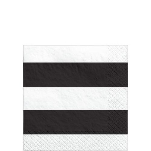 Black Striped Beverage Napkins 16ct Image #1