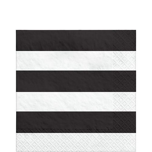Black Striped Lunch Napkins 16ct Image #1