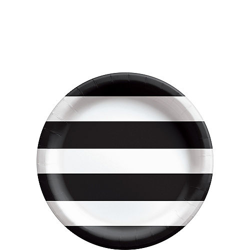 Black Striped Dessert Plates, 7in, 8ct Image #1