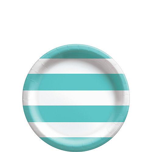 Robin's Egg Blue Striped Dessert Plates, 7in, 8ct Image #1