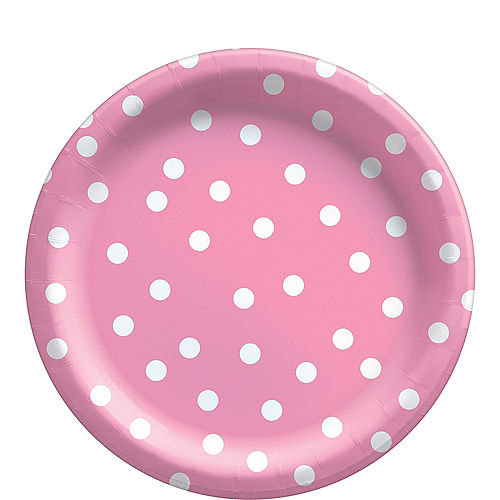Pink Confetti Dot Lunch Plates, 9in, 8ct Image #1