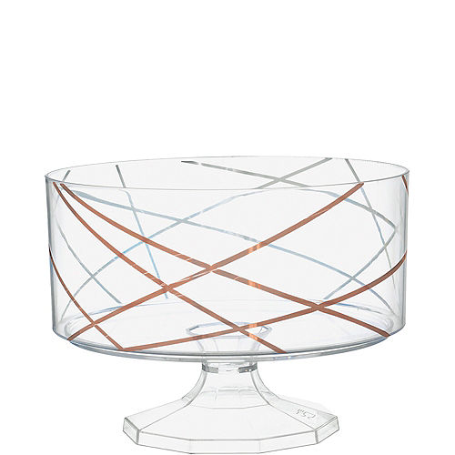 Metallic Rose Gold Abstract Lines Clear Plastic Trifle Container, 40oz Image #1