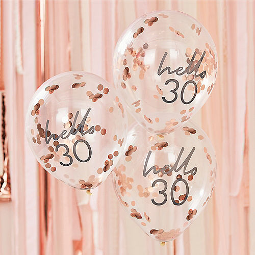 Ginger Ray Hello 30 Metallic Rose Gold Confetti Balloons, 12in, 5ct Image #1