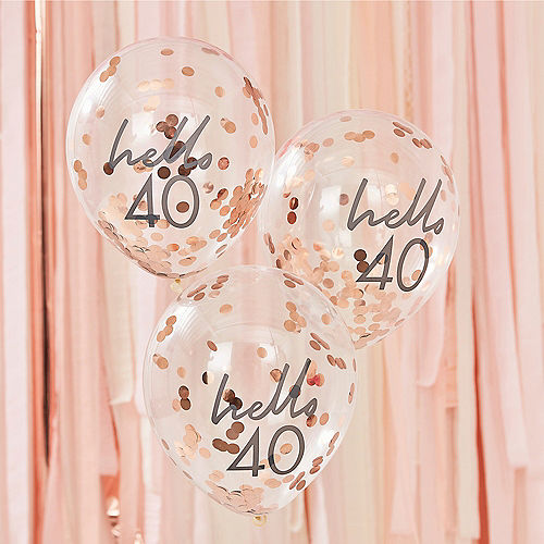 Ginger Ray Hello 40 Metallic Rose Gold Confetti Balloons, 12in, 5ct Image #1