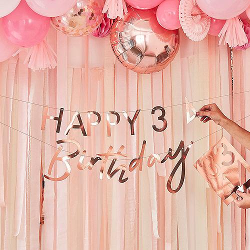 Ginger Ray Customizable Metallic Rose Gold Happy Birthday Banner, 5ft Image #1