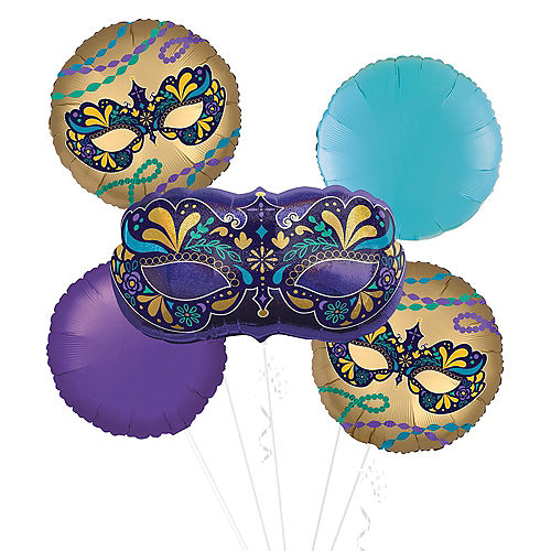 Mardi Gras Mask Balloon Bouquet Kit 5pc Image #1