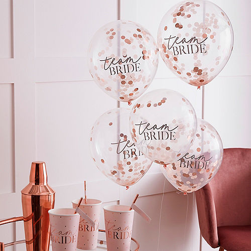 Ginger Ray Rose Gold & Blush Confetti Team Bride Balloons 5ct Image #1