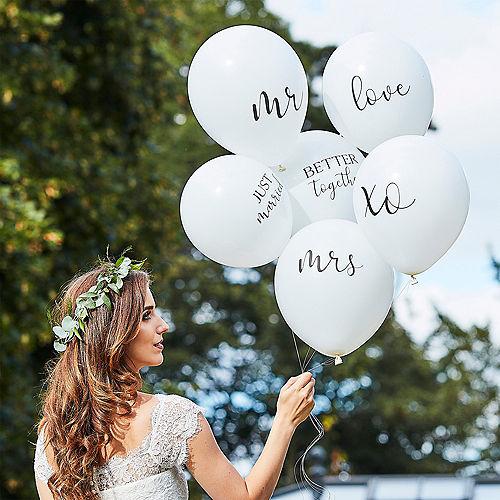 Ginger Ray White & Black Wedding Slogan Balloons 6ct Image #1